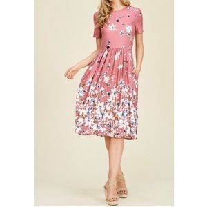 Floral Mauve Midi Dress